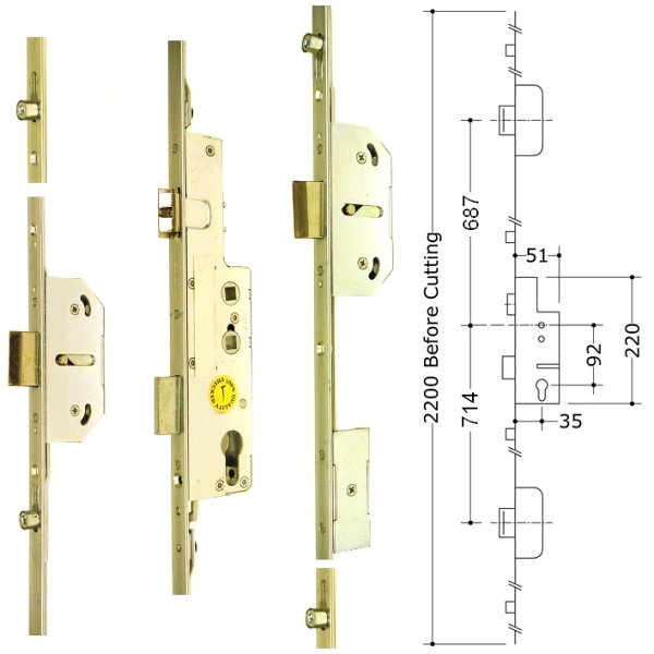 Avocet 3 Deadbolt 4 Roller Multipoint Upvc Door Lock 3
